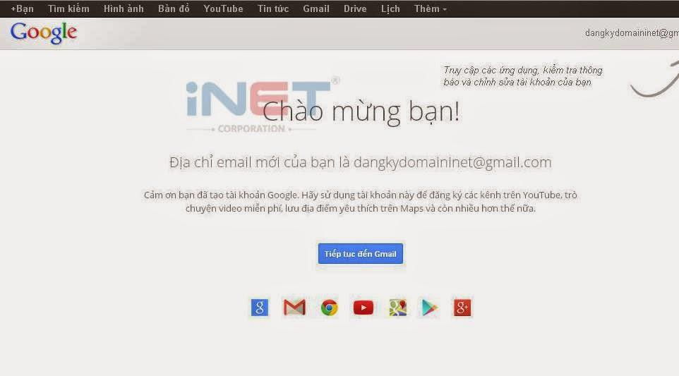 Đăng ký Gmail thành công