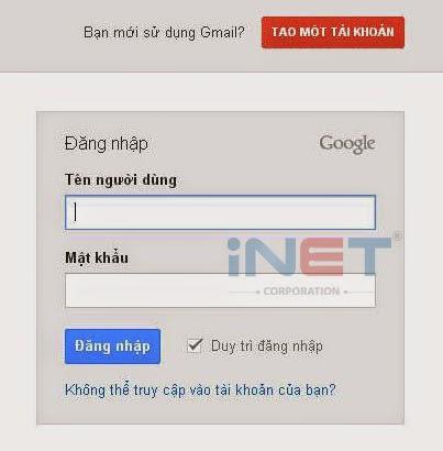 Tạo 1 địa chỉ Gmail, nhấn vào TẠO MỘT TÀI KHOẢN