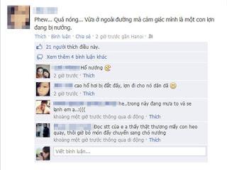 Comment trời nóng trên facebook