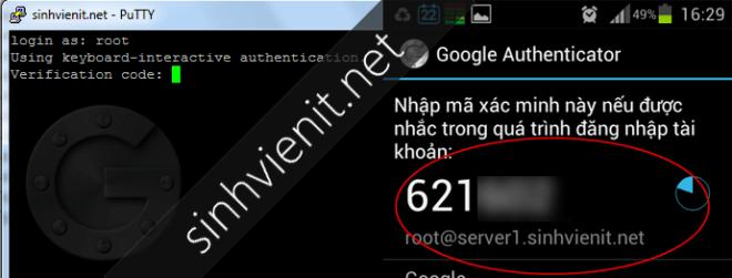 Xác minh 2 bước google-authenticator trên điện thoại khi vào SSH