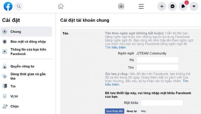 Đặt tên Facebook theo ngôn ngữ